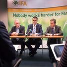 IFA President Joe Healy takes questions from media alongside Deputy President Richard Kennedy and Bryan Barry who has been acting General Secretary. Picture: Finbarr O'Rourke.