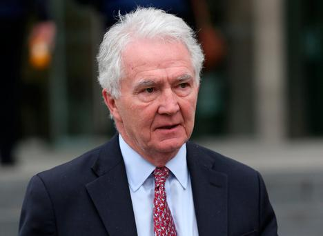 Former Chairman of Anglo Irish Bank, Sean Fitzpatrick (68) of Whitshed Road, Greystones, Co Wicklow, leaves the Dublin Circuit Criminal Court this afternoon where he is accused of misleading Anglo's auditors over a five year period. Pic Collins Courts.