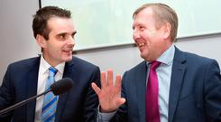IFA president Joe Healy and Agriculture Minister Michael Creed at the IFA AGM in Dublin yesterday. Photo: Tony Gavin