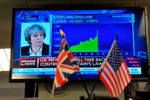 A financial graph on a television screen showing the movement of the foreign exchange rate of the British pound against the US dollar in realtime on the trading floor of ETX Capital in London as British Prime Minister Theresa May delivers a speech on Brexit. Photo: AFP/Getty Images