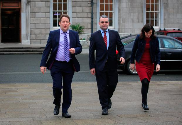 Fianna Fail Spokesperson on Foreign Affairs & Trade Darragh O'Brien TD, Fianna Fail Spokesperson on Public Expenditure & Reform Dara Calleary and Senator Catherine Ardagh speaking to media on the latest public sector pay developments and about Theresa May's Brexit speech on the Plinth of Leinster House. Photo: Gareth Chaney Collins