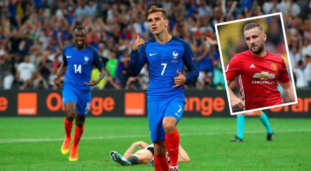 Griezmann and (inset) Luke Shaw