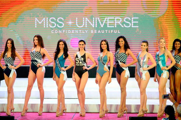 Miss Universe contestants participate in a swimwear fashion show in Cebu City, central Philippines