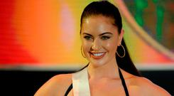 Miss Canada Siera Bearchell takes part in a swimwear fashion show for Miss Universe in Cebu City, central Philippines