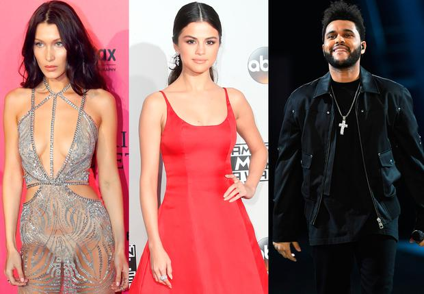 (L to R) Bella Hadid, Selena Gomez and The Weeknd