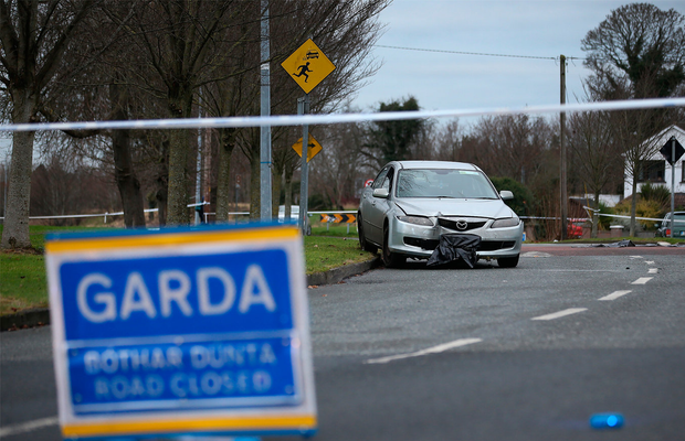 The car which was involved in an incident at The Glebe in Lucan. Picture Credit:Frank Mc Grath