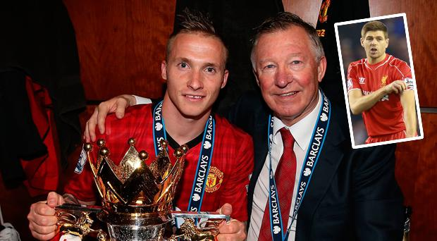 Buttner and Alex Ferguson with Premier League trophy and (inset) Gerrard