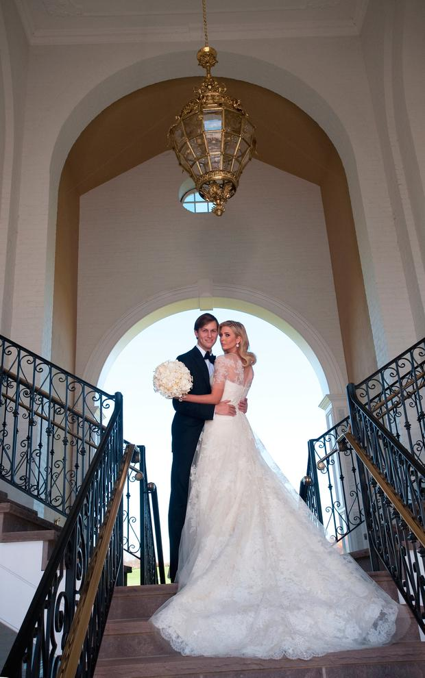 Ivanka Trump (R) and Jared Kushner (L) attend their wedding at Trump National Golf Club on October 25, 2009 in Bedminster, New Jersey. (Photo Brian Marcus/Fred Marcus Photography via Getty Images)