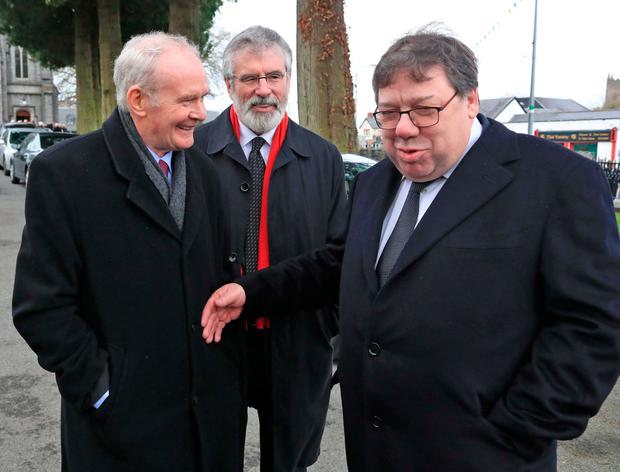 Former deputy first minister Martin McGuinness and Sinn Féin leader Gerry Adams with former taoiseach Brian Cowen. Photo: Colin Keegan, Collins Dublin.