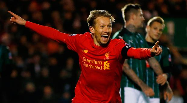 Football Soccer Britain - Plymouth Argyle v Liverpool - FA Cup Third Round Replay - Home Park - 18/1/17 Liverpool's Lucas Leiva celebrates scoring their first goal Action Images via Reuters / Paul Childs Livepic