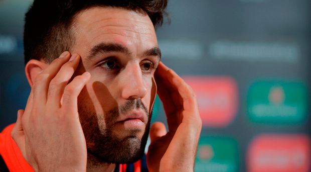 Conor Murray talking to the press in UL yesterday Photo by Seb Daly/Sportsfile