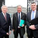 GAA director general Páraic Duffy, FAI boss John Delaney, and IRFU chief Philip Browne as they arrived to attend the Joint Oireachtas Committee on Transport, Tourism and Sport at Leinster House yesterday. Photo: Tom Burkefor