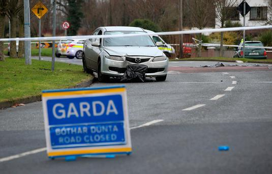 A car involved in the incident at the Glebe in Lucan, Dublin. Photo: Frank McGrath