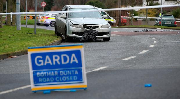 A car involved in the incident at the Glebe in Lucan, Dublin