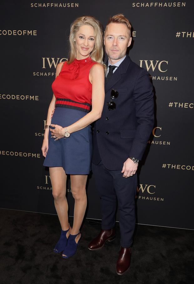 Storm and Ronan Keating visit the IWC booth during the launch of the Da Vinci Novelties from the Swiss luxury watch manufacturer IWC Schaffhausen at the Salon International de la Haute Horlogerie (SIHH) 2017 on January 17, 2017 in Geneva, . (Photo by Chris Jackson/Getty Images for IWC)