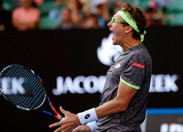 Denis Istomin shows his delight