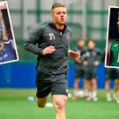 Conor Clifford training with Dundalk, lifts the Youth Cup with Chelsea (inset left) and (right) in action for Ireland