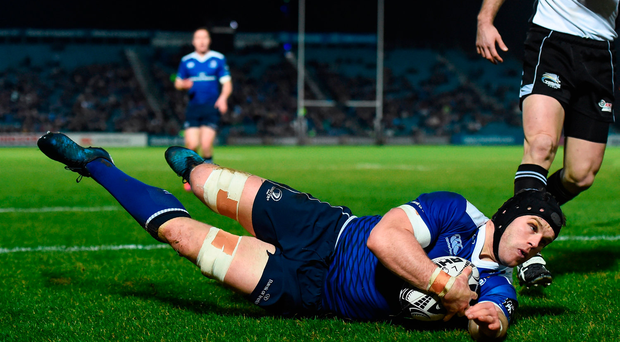 Sean O'Brien of Leinster goes over to score his side's first try during the Guinness PRO12 Round 13 match between Leinster and Zebre at the RDS