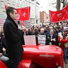 IFA President Joe Healy leads a protest of IFA members outside the Dail. PIcture: FInbarr O'Rourke.