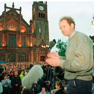Martin McGuinness addressing Nationalists outside the Guildhall in Derry after a march. Photo: Brian Little/PA Wire