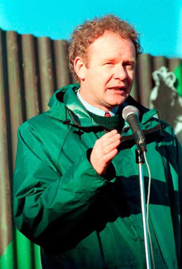 Sinn Fein's Martin McGuinness in 1995 addressing a Republican rally in Pomeroy, Co Tyrone. Photo: PA Wire
