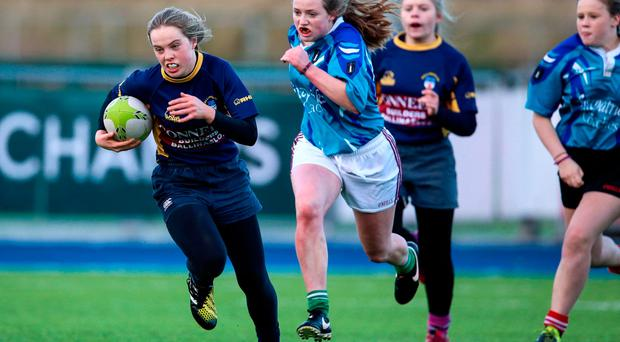 Action from the Girls' Crosspitch Sevens All-Ireland Championships. Photo: ©INPHO/Tommy Dickson