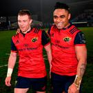 Keith Earls and Francis Saili after Munster's win over Racing in France. Photo: Stephen McCarthy/Sportsfile