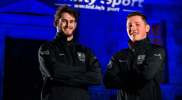 Jack Kelly and Colm Horgan at the announcement by Trinity Sport of 60 new sports scholarships at the university, which are being supported by Bank of Ireland and span 20 different sporting codes. Photo: Cathal Noonan