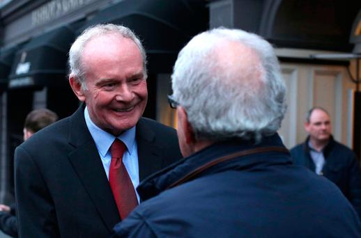 Sinn Féin's Martin McGuinness leaves Bishop's Gate Hotel in Derry after announcing his intention not to seek re-election REUTERS/Clodagh Kilcoyne