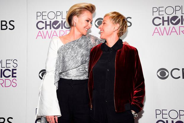 TV Personality Ellen Degeneres, winner of multiple awards (R) and actress Portia De Rossi pose in the press room during the People's Choice Awards 2017 at Microsoft Theater on January 18, 2017 in Los Angeles, California. (Photo by Kevork Djansezian/Getty Images)
