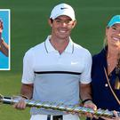 Rory McIlroy with Erica Stoll and (inset) Caroline Wozniacki