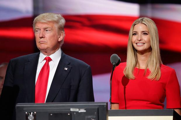 Donald Trump and his daughter Ivanka Trump test the teleprompters and microphones on stage before the start of the fourth day of the Republican National Convention on July 21, 2016 at the Quicken Loans Arena in Cleveland, Ohio.