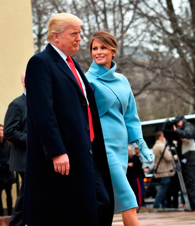 Melania trump opts for sky blue ralph lauren dress for inauguration us president elect donald trump and his wife melania leave st johns episcopal church m4hsunfo