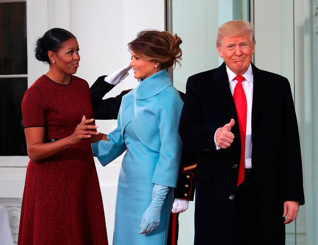 WATCH: This awkward moment when Melania Trump gives Michelle Obama ...