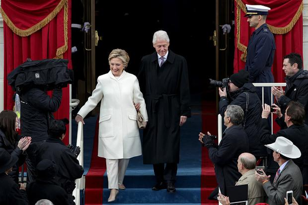Former President Bill Clinton and former Democratic presidential nominee Hillary Clinton arrive on the West Front of the U.S. Capitol on January 20, 2017 in Washington, DC. In today's inauguration ceremony Donald J. Trump becomes the 45th president of the United States. (Photo by Alex Wong/Getty Images)