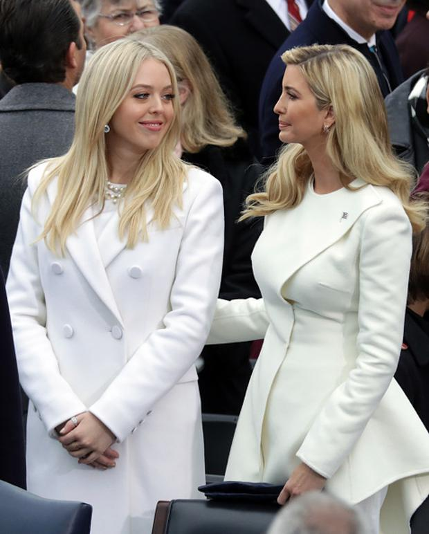 (L-R) Tiffany Trump and Ivanka Trump arrive on the West Front of the U.S. Capitol on January 20, 2017 in Washington, DC. In today's inauguration ceremony Donald J. Trump becomes the 45th president of the United States. (Photo by Chip Somodevilla/Getty Images)