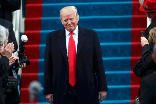 U.S. President-elect Donald Trump arrives on the platform to be sworn in as the 45th president of the United States on the West front of the U.S. Capitol in Washington, U.S., January 20, 2017. REUTERS/Carlos Barria