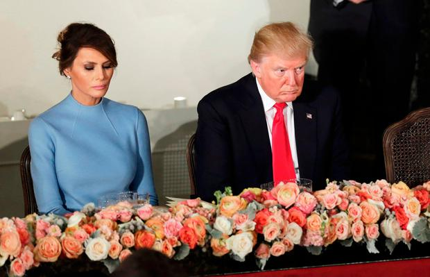 U.S. President Donald Trump and first lady Melania attend the Inaugural luncheon at the National Statuary Hall in Washington, U.S, January 20, 2017. REUTERS/Yuri Gripas