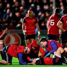 Conor Murray is treated for injury against Glasgow last Saturday. Photo: Stephen McCarthy/Sportsfile