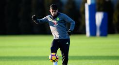 Diego Costa gets back into the swing of things during training with Chelsea's first team. Photo: Darren Walsh/Chelsea FC via Getty Images