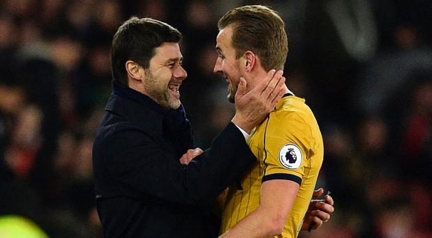 Mauricio Pochettino and Harry Kane have again been a crucial to Tottenham's progress in the Premier League. Photo: Glyn Kirk/AFP/Getty Images