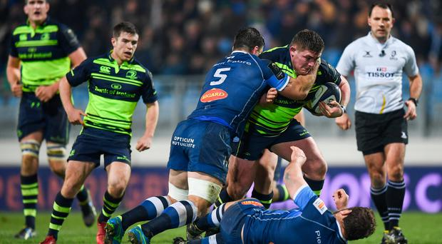 20 January 2017; Tadhg Furlong of Leinster is tackled by Rodrigo Capo Ortega, 5, and Daniel Kotze of Castres during the European Rugby Champions Cup Pool 4 Round 6 match between Castres and Leinster at Stade Pierre Antoine in Castres, France. Photo by Stephen McCarthy/Sportsfile