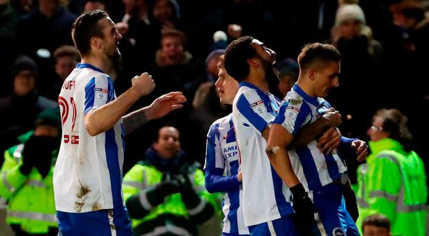 Brighton & Hove Albion's Anthony Knockaert (right) celebrates scoring his side's second goal. Photo: Gareth Fuller/PA Wire