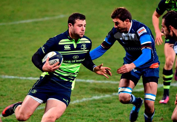 Leinster's centre Robbie Henshaw runs with the ball. Photo: Remy Gabalda/AFP/Getty Images