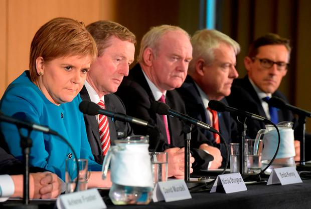 First Minister of Scotland Nicola Sturgeon, Taoiseach Enda Kenny, then-deputy First Minister of Northern Ireland Martin McGuinness and Carwyn Jones, First Minister of Wales, during a British-Irish Council Summit meeting in Glasgow last year: Photo: PA