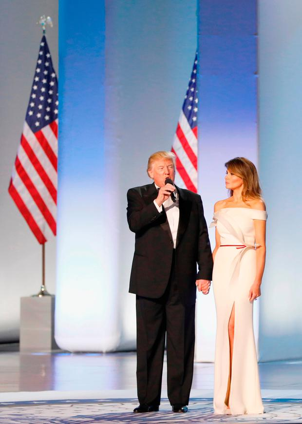 President Donald Trump and first lady Melania Trump address the Freedom Inaugural Ball at the Washington Convention Center January 20, 2017 in Washington, D.C