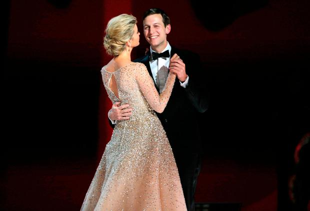 Ivanka Trump dances with her husband Jared Kushner at U.S. President Donald Trump's