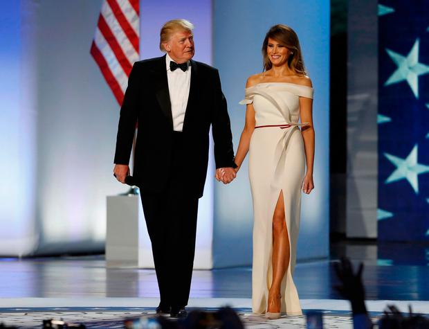 U.S. President Donald Trump and first lady Melania Trump arrive at the Inauguration Freedom Ball in Washington, U.S., January 20, 2017. REUTERS/Lucy Nicholson