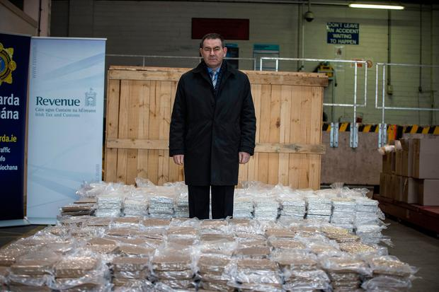 Detective Superintendent Tony Howard from the Drugs and Organised Crime Bureau with the estimated €37.5 million worth of Cannabis herb which was seized by Revenue and Gardaí at Dublin Port. Pic:Mark Condren