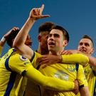 Everton's Seamus Coleman celebrates scoring their winner
